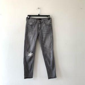 Zara Ankle Cropped Skinny Jeans Raw Hem Distressed